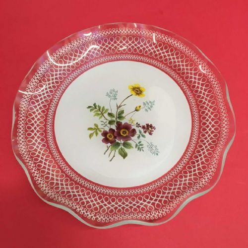 Pretty Glass Plate - Wild Flowers - 50s 60s